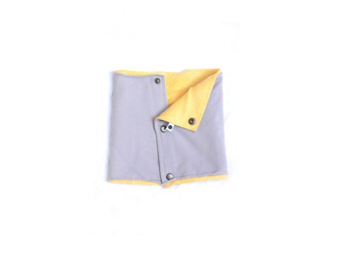 Zimní komínkový šál - žlutý/popelavý