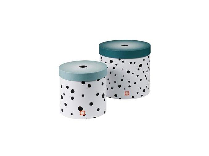 Set kulatých úložných boxů Happy dots - 2 ks, modrá
