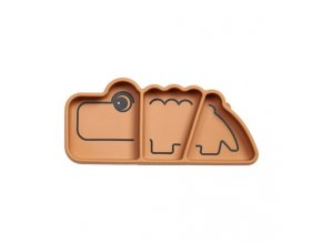 Silikonový protiskluzový talíř Croco - hořčicový