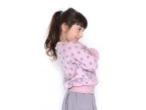 Bavlněná mikina - růžová s puntíky LIMITOVANÁ KOLEKCE