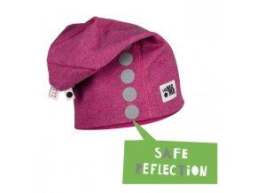 Bavlněná čepice s reflexním potiskem - růžová melírovaná