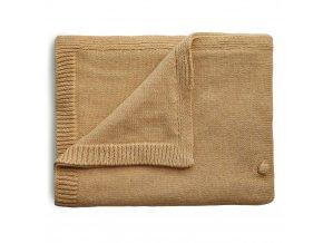 Mushie pletena detska deka z organickej bavlny bodkovana Mustard