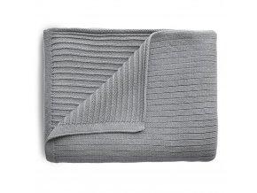 Mushie pletena detska deka z organickej bavlny pasikova Gray