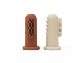 Mushie silikonova zubna kefka na prst 2ks ClayShiftingSand