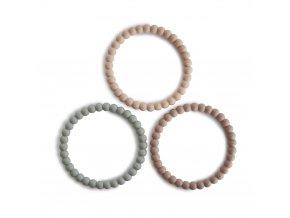 Mushie silikonové náramkové kousátko Pearl - clary-sage/tuscany/desert-sand