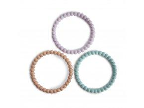 Mushie silikonové náramkové kousátko Pearl - lilac/cyan/soft-peach