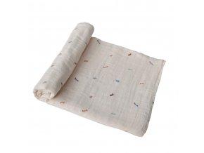 Mushie mušelínové zavinovací plenka z organické bavlny - retro cars