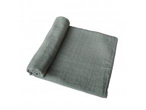 Mushie mušelínové zavinovací plenka z organické bavlny - roman green