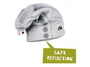 Bavlněná čepice s reflexním potiskem - světle šedá melírovaná