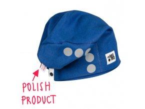 Bavlněná čepice s reflexním potiskem - modrá