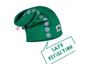 Bavlněná čepice s reflexním potiskem - tmavě zelená