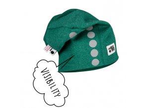 Bavlněná čepice s reflexním potiskem - zelená melírovaná