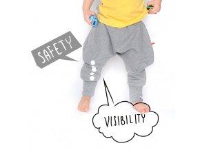 Kalhoty bavlněné s reflexním potiskem -  šedé melírované