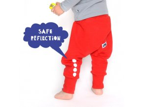 Kalhoty bavlněné s reflexním potiskem -  červené