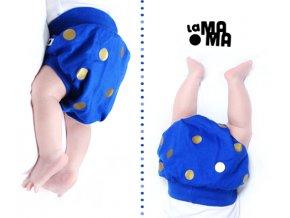 Bavlněné šortky - modré se zlatými puntíky LIMITOVANÉ
