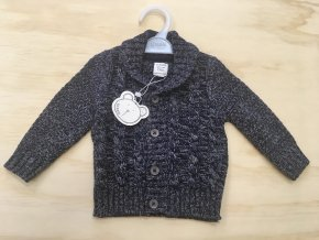 Pletený svetr na knoflíky - modrý melírovaný