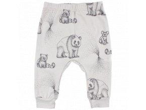 Elemental kalhoty z certifikované bio bavlny s ručně kresleným motivem - ecru