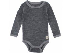 Vlněné body Small rags  s dlouhým rukávem - tmavě šedé melírované