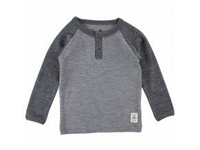 Vlněné triko Small rags  s dlouhým rukávem - šedé melírované