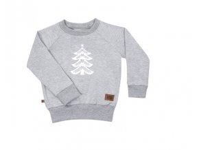 Bavlněná mikina Christmas 01 - šedá melírovaná