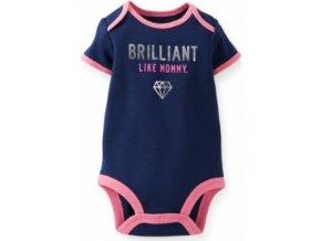 carters baby girls short sleeve bodysuit navy blue brilliant like mommy 3m size 3 months