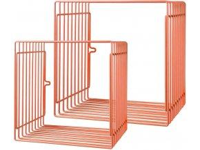 Čtvercová police 2ks - oranžová