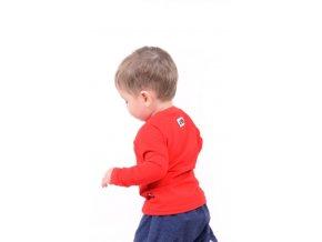 Bavlněné triko s dlouhým rukávem - červené