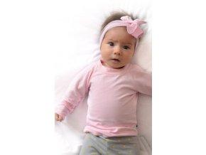Bavlněné triko s dlouhým rukávem - pastelově růžové
