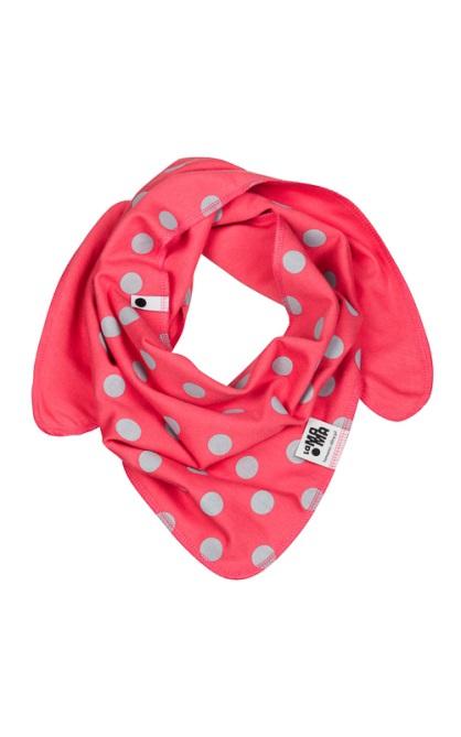 Oboustranný bavlněný šátek - korálový s puntíky
