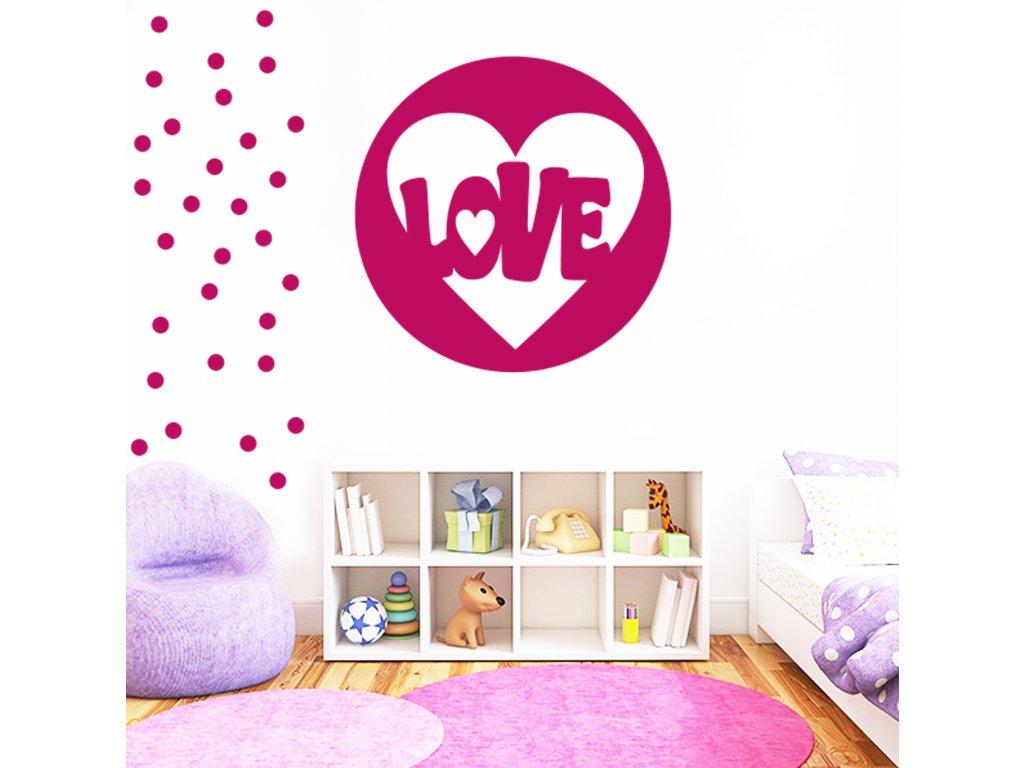 Love circle - Samolepka na zeď   SAMOLEPKYnaZED.cz (barva růžová)