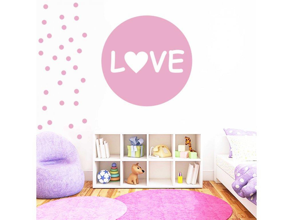 Love - Samolepka na zeď (liliová)