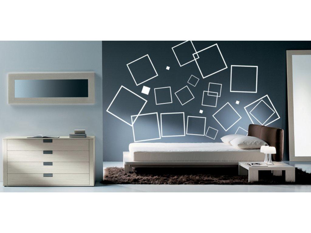 Čtverce - TOP samolepky na zeď a dekorace (barva bílá)