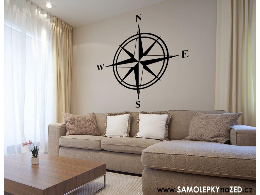 Kompas - Samolepka na zeď | SAMOLEPKYnaZED.cz (barva černá)