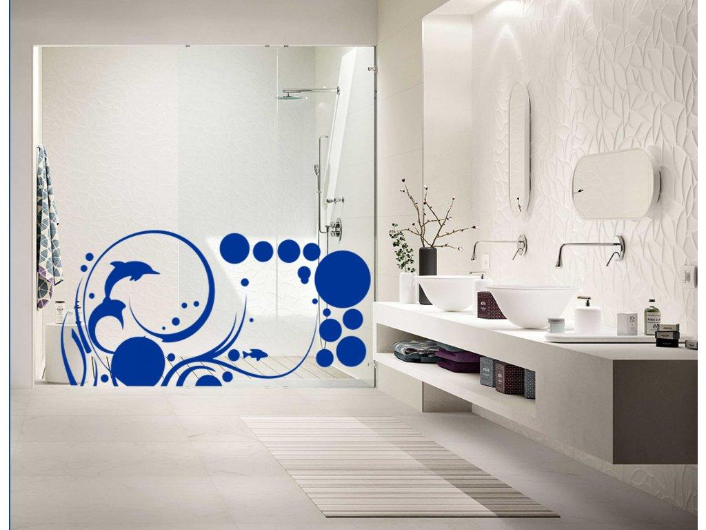 Podvodní svět - samolepící dekorace na zeď  SAMOLEPKYnaZED.cz (barva tmavě modrá)