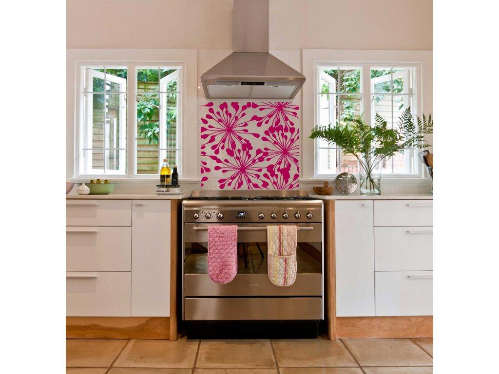 Květiny Dekoracio Samolepka do kuchyně (růžová)