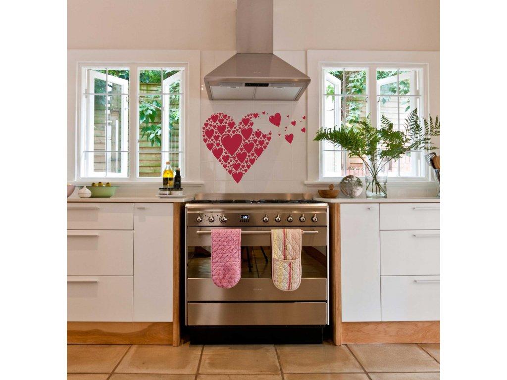Srdce ze srdcí - Samolepka do kuchyně (rudá)