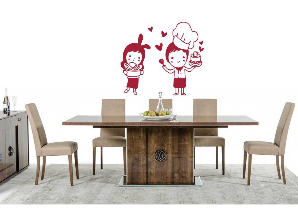 Zamilovaní pekaři - Samolepka do kuchyně (rudá)