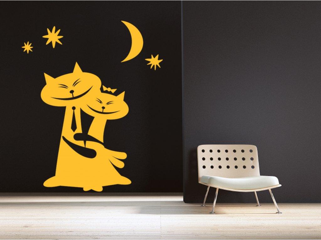 Kočičí - Samolepka na zeď | SAMOLEPKYnaZED.cz (barva žlutá)
