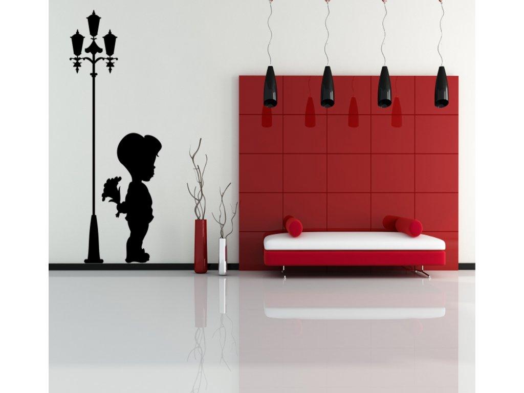 Klučina u lampy - Samolepka na zeď | SAMOLEPKYnaZED.cz (barva černá)