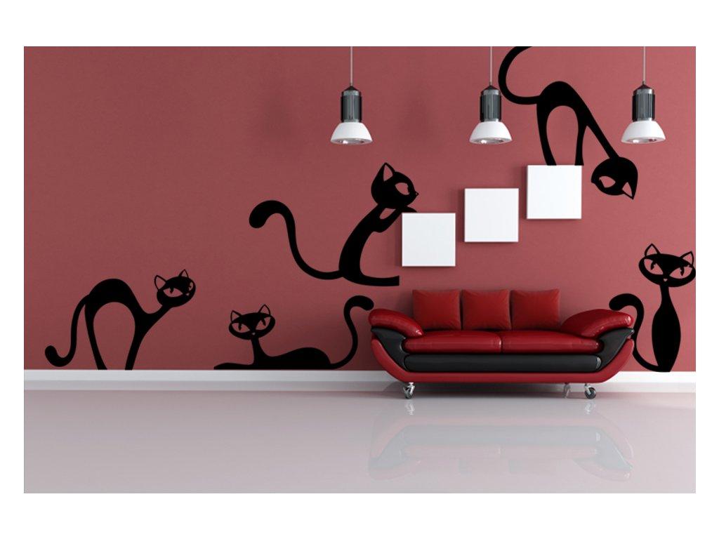 samolepky na zeď kočky (barva černá)