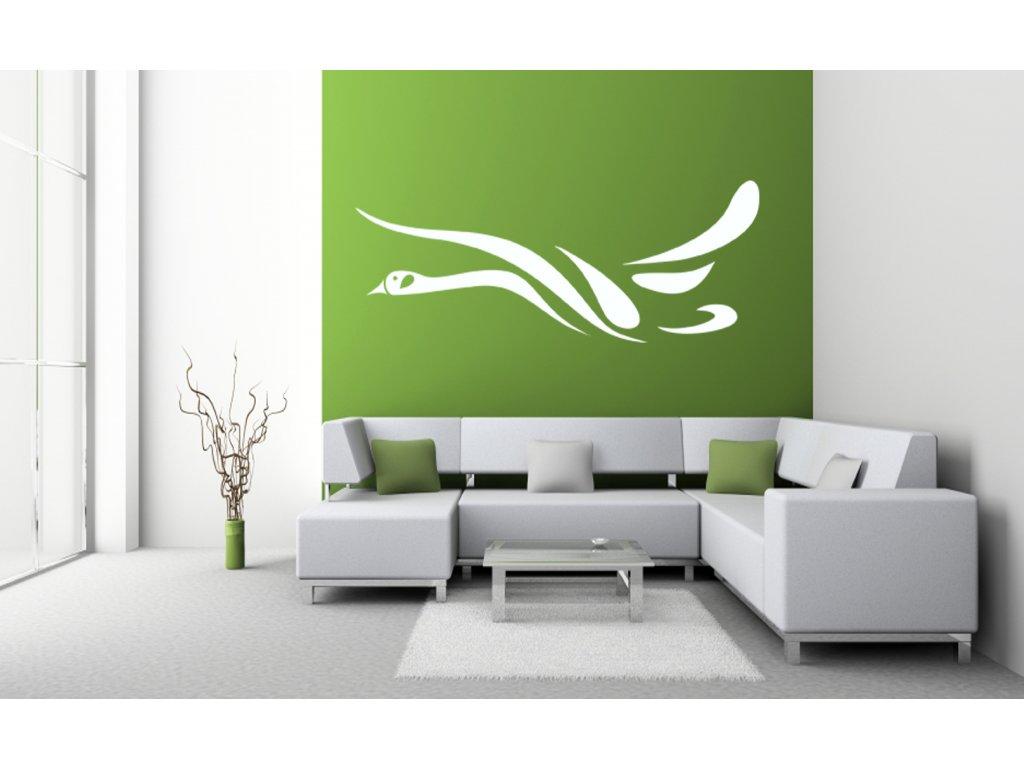 Labuť - samolepící dekorace na zeď | SAMOLEPKYnaZED.cz (barva bílá)
