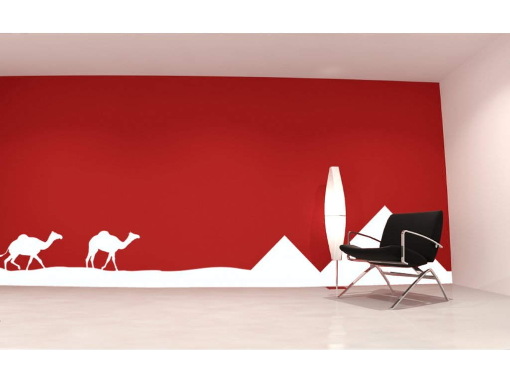 Pyramidy v Egyptě - samolepka na zeď | SAMOLEPKYnaZED.cz (barva bílá)
