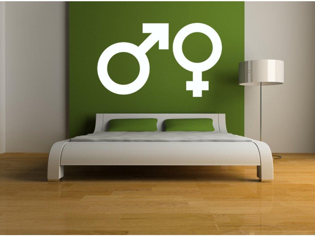 Piktogramy muž + žena - samolepka na zeď | SAMOLEPKYnaZED.cz (barva bílá)