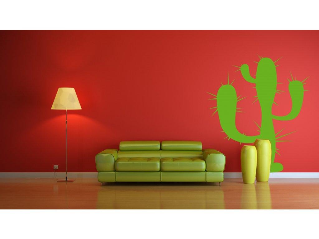 Kaktus - samolepka na zeď, úžasná dekorace   SAMOLEPKYnaZED.cz (barva limetková)