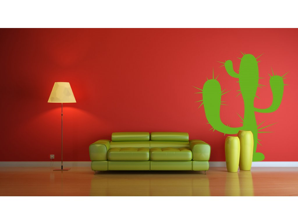 Kaktus - samolepka na zeď, úžasná dekorace | SAMOLEPKYnaZED.cz (barva limetková)