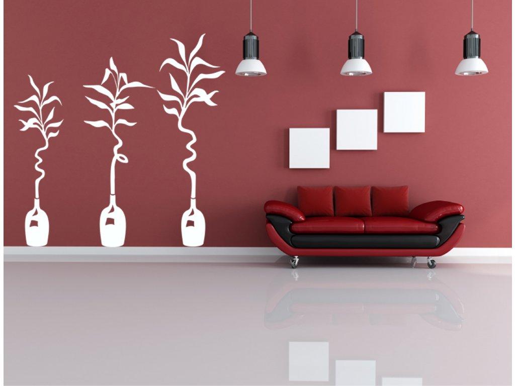 Květiny ve váze - samolepka na zeď, úžasná dekorace | SAMOLEPKYnaZED.cz (barva bílá)