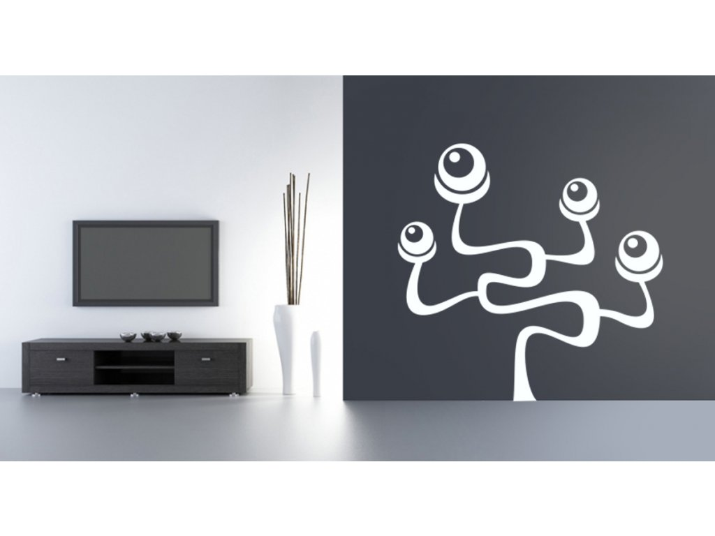 Strom Occhio - samolepka na zeď, úžasná dekorace   SAMOLEPKYnaZED.cz (barva bílá)