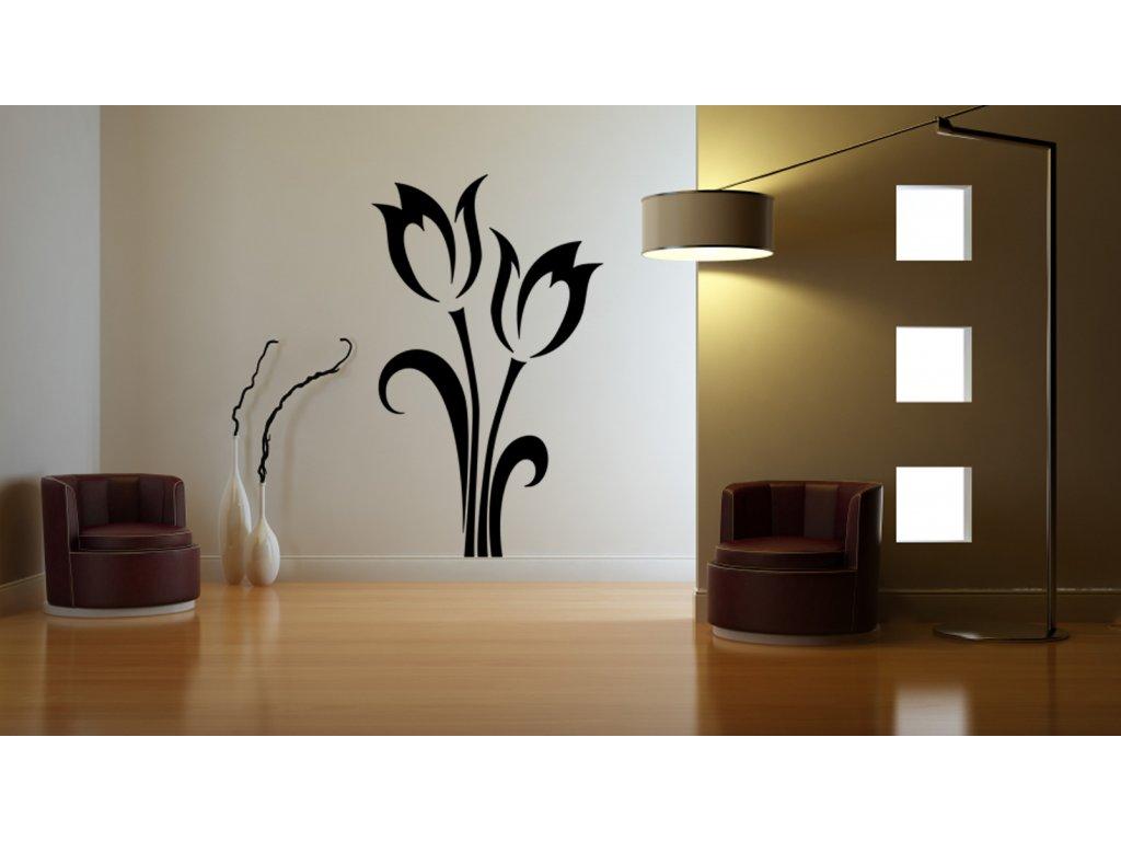 Tulipán - samolepka na zeď, úžasná dekorace | SAMOLEPKYnaZED.cz (barva černá)