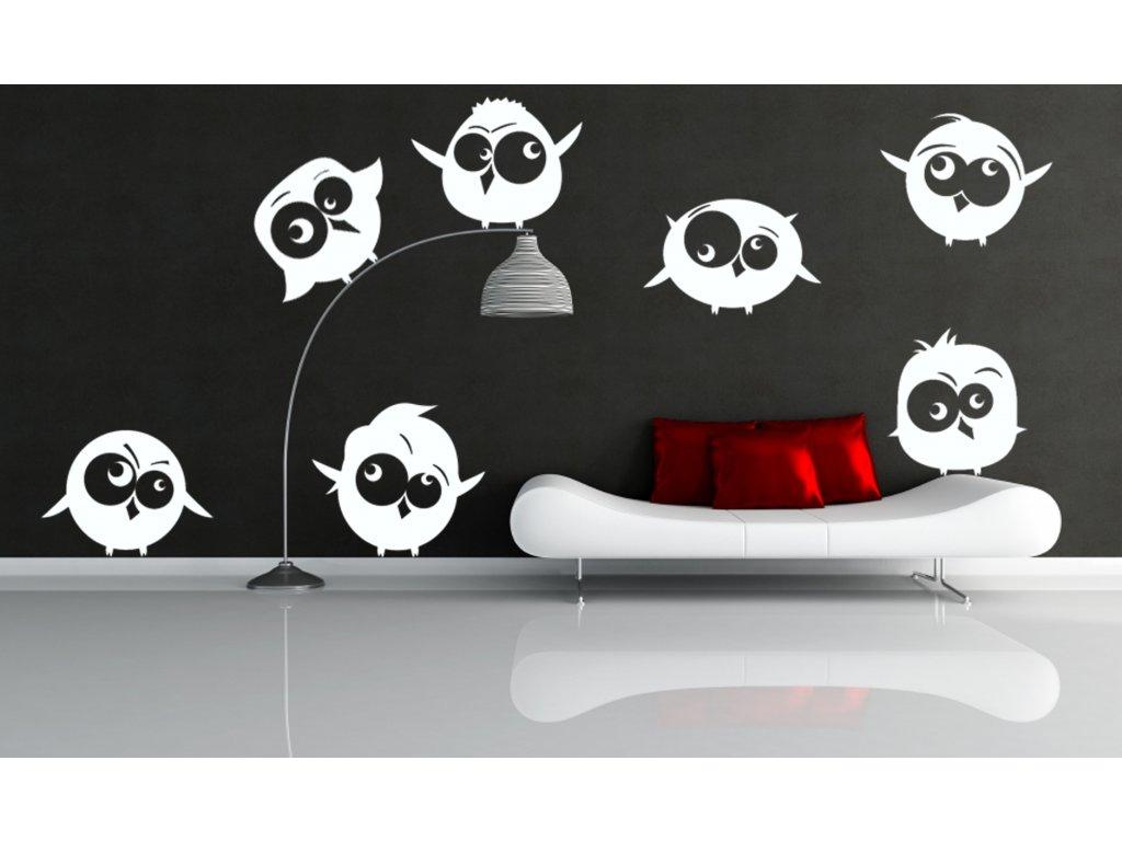 Rozlítaní ptáčci - Samolepka na zeď | SAMOLEPKYnaZED.cz (barva bílá)