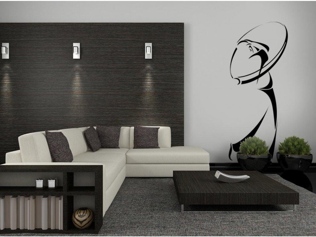 Golfista - samolepky na zeď   SAMOLEPKYnaZED.cz (barva černá)